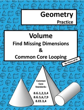 Volume Find Missing Dimensions 8.G.9 Common Core Spiraling Practice Test Prep