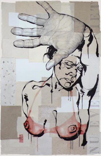 Maayke Schuitema,  NEE, 2011,  Linoleumdruk, collage, acryl en potlood op linnen, 170 x 105 cm