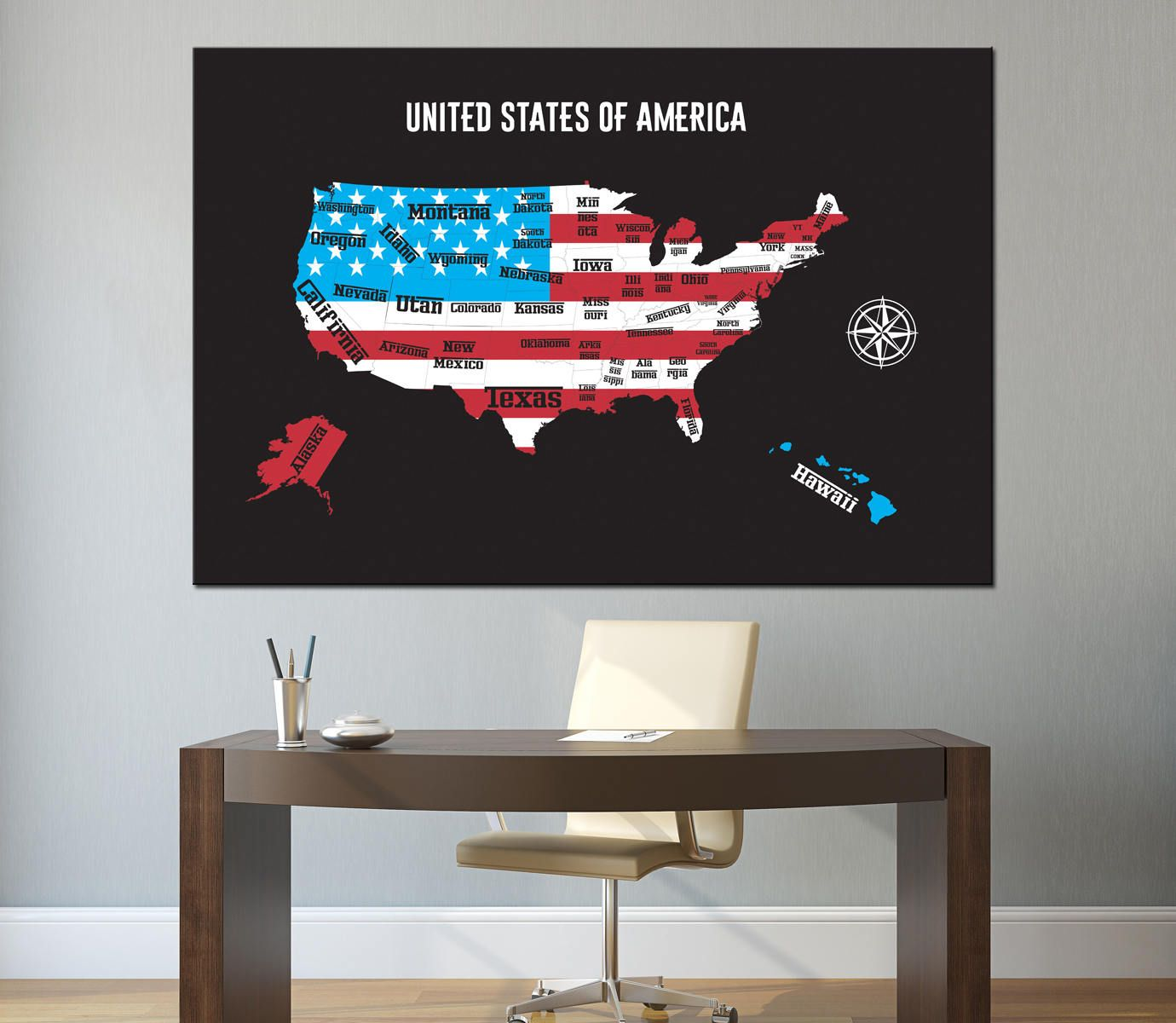 Large Detailed USA map flag With State Names and Borders canvas ...