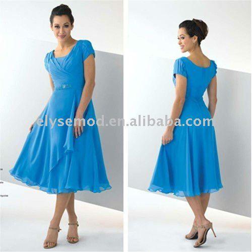 tea length chiffon dress with cap