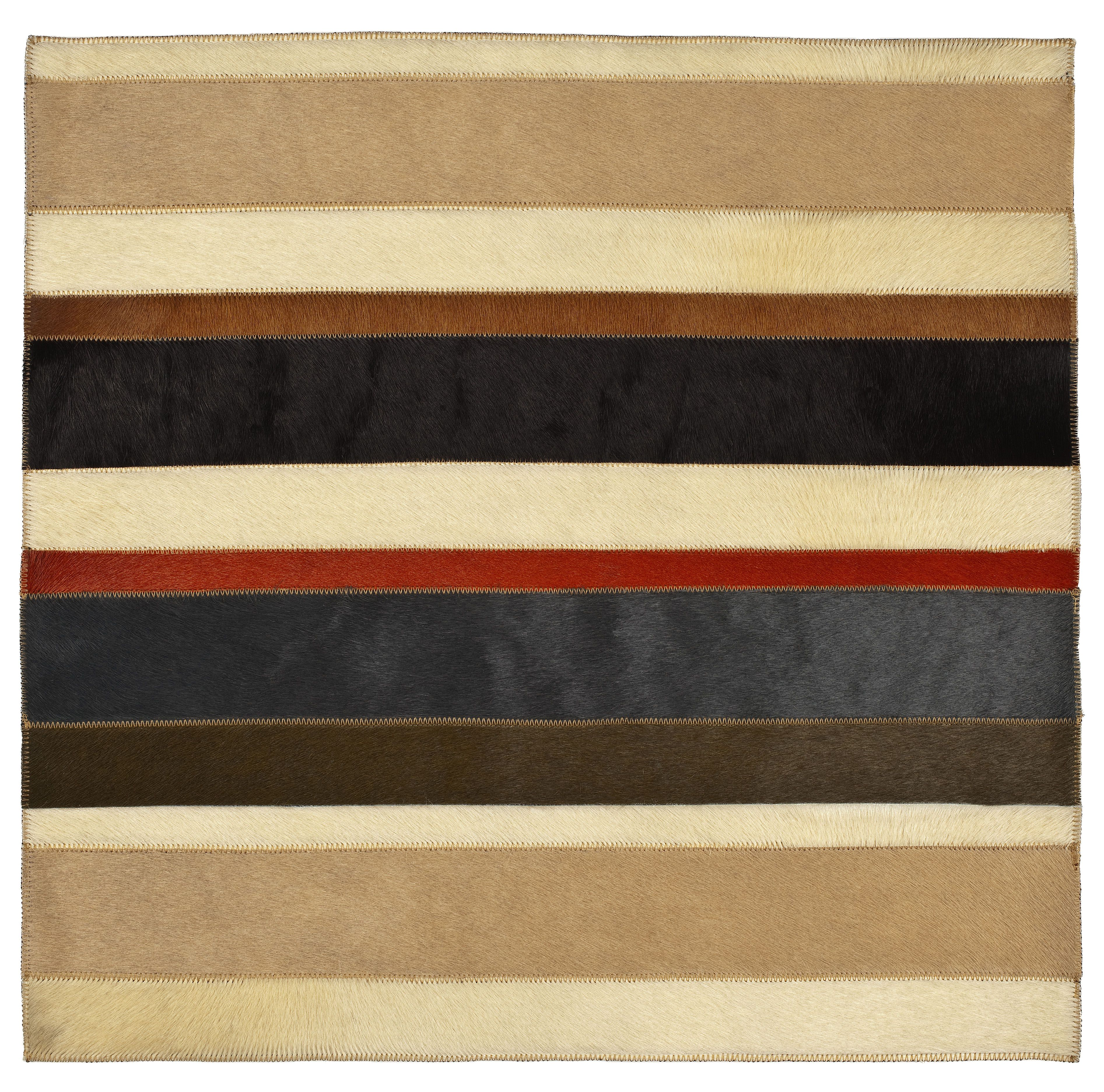 "Edelman Leather ""barcode"" cowhide rug in multi-colors."