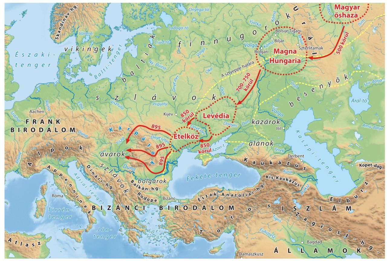 Migration of the Hungarian tribes from the Ural Mountains to the ...
