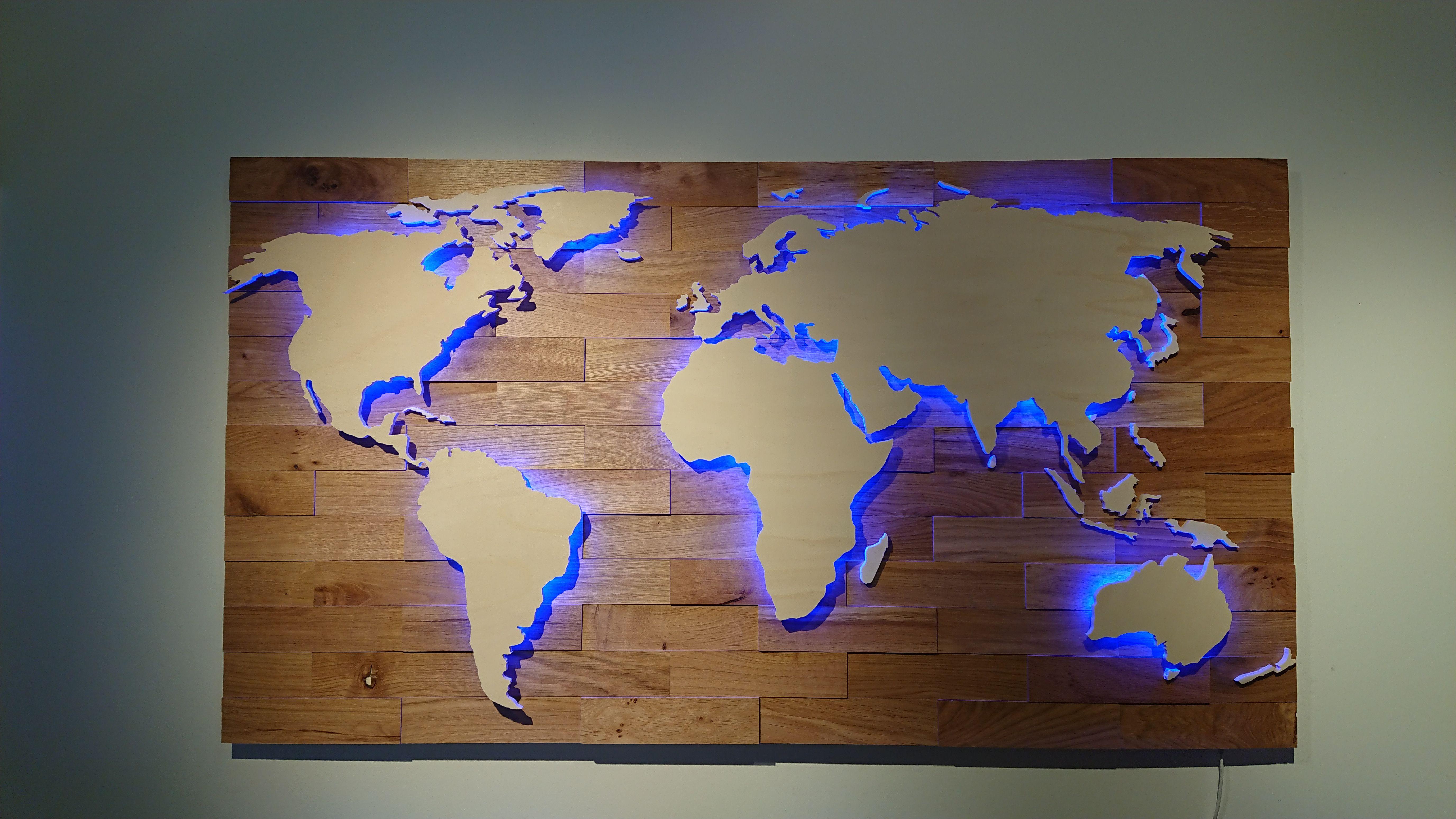 Weltkarte Aus Holz Led Beleuchtung Eiche Rustikal Weltkarte Aus Holz Weltkarte Led Beleuchtung