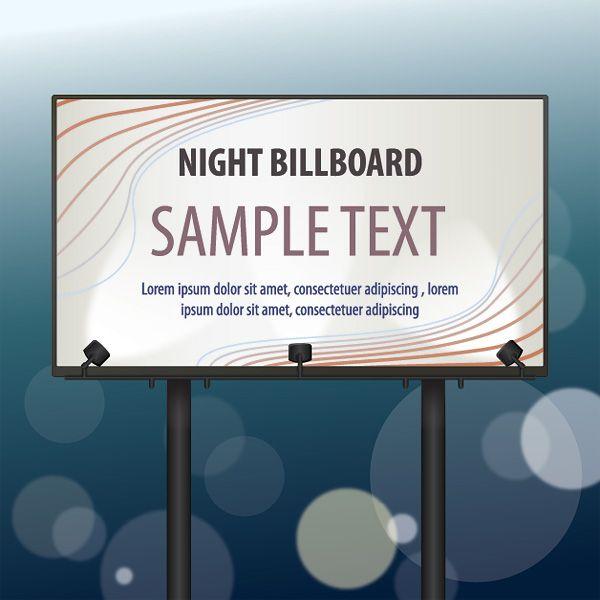 Night Billboard Vector Graphic