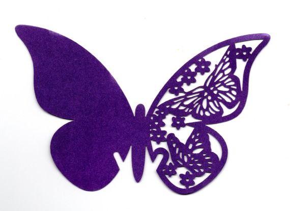 Papillon marque place par 10 1365 papier violet satine mariage m n pinterest papillon - Silhouette papillon imprimer ...