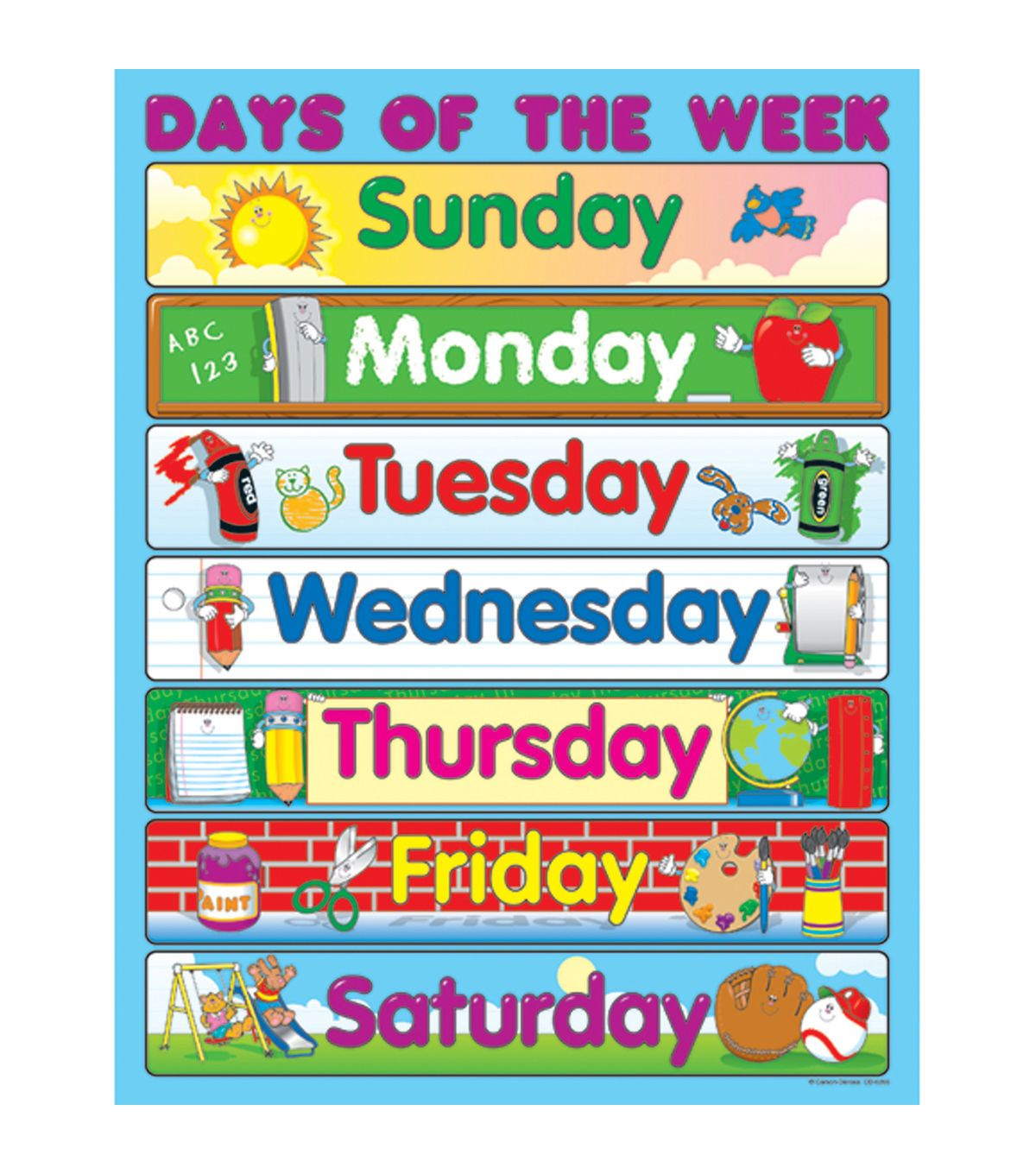 Carson Dellosa Days Of The Week Chart 6pk Kindergarten Posters Classroom Charts Manners For Kids Days of the week horizontal