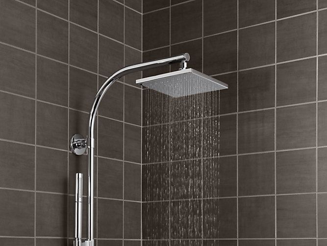 Simulate A Warm Summer Downpour In Your Shower With The K 13695 Showerhead Featuring A Modern Square Design Contemporary Square Shower Heads Rain Shower Head