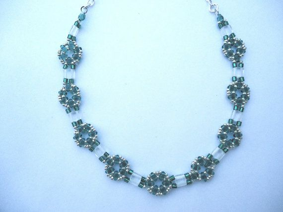 Choker in emerald beaded flower design silver by JoolsbyAveril, $38.00