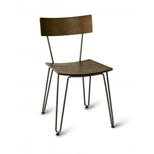 Industrial Restaurant Chair Acacia Wood With Hair Pin
