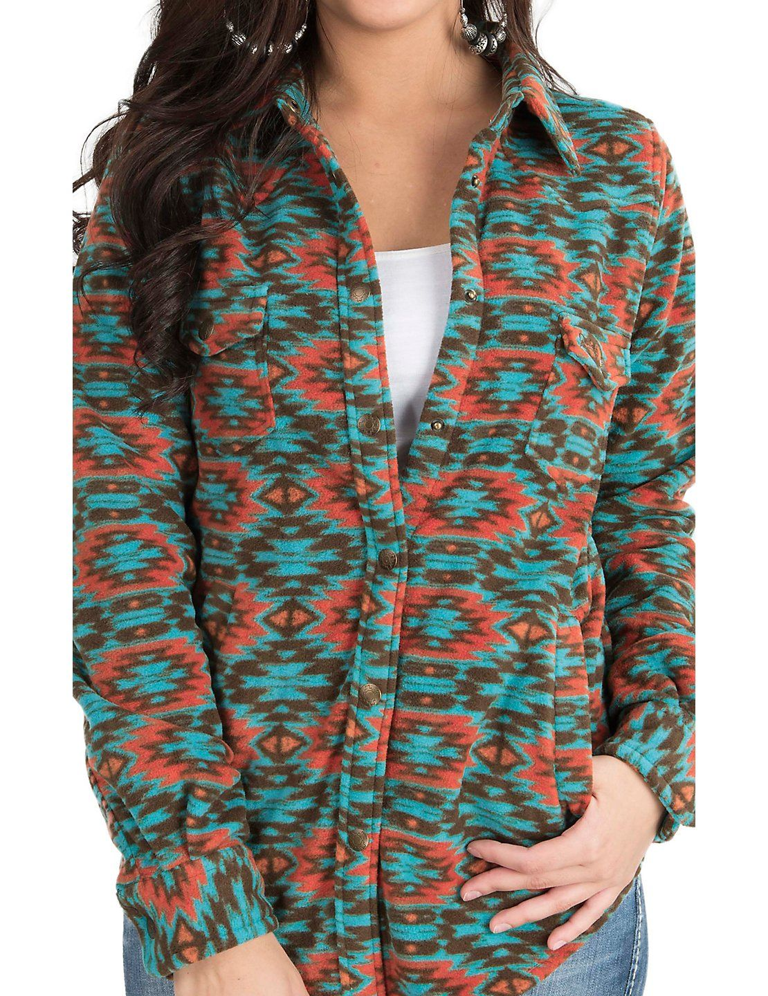 Outback Trading Company Women S Turquoise And Coral Native Print Long Sleeve Fleece Jacket Cavender S Outerwear Women Rodeo Shirts Western Shirts [ 1440 x 1110 Pixel ]