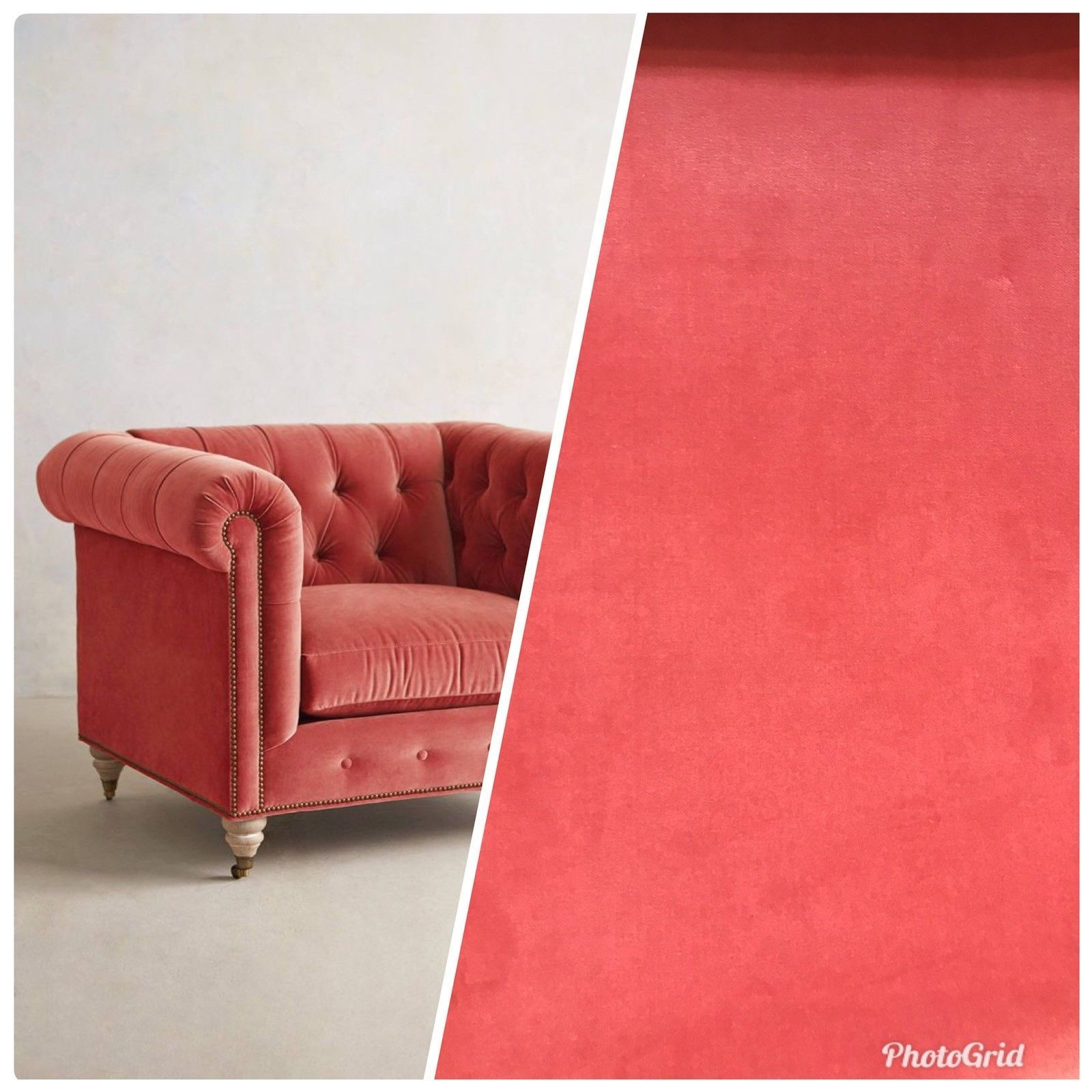 Soft Coral NEW Designer Velvet Upholstery Fabric By The Yard