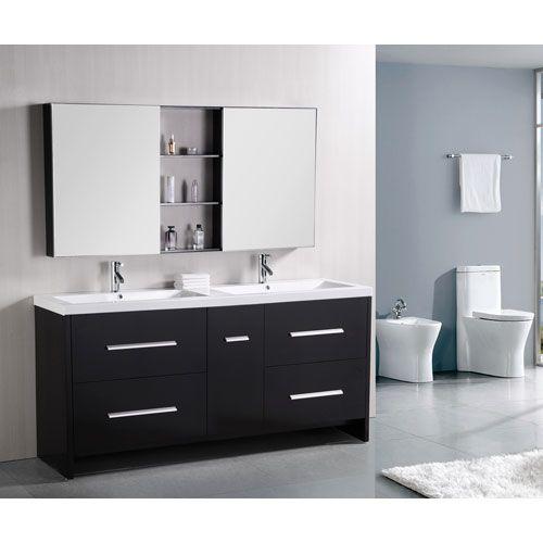 Design Element Perfecta Dark Espresso 72 Inch Double Sink Vanity Fair 72 Inch Bathroom Vanity Double Sink Inspiration Design