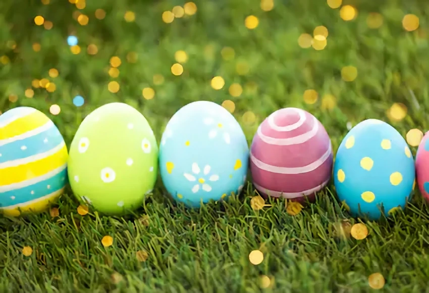 Happy Easter Day Green Grass Easter Eggs Backdrop For Photos Sh112 Easter Backdrops Happy Easter Day Easter Eggs