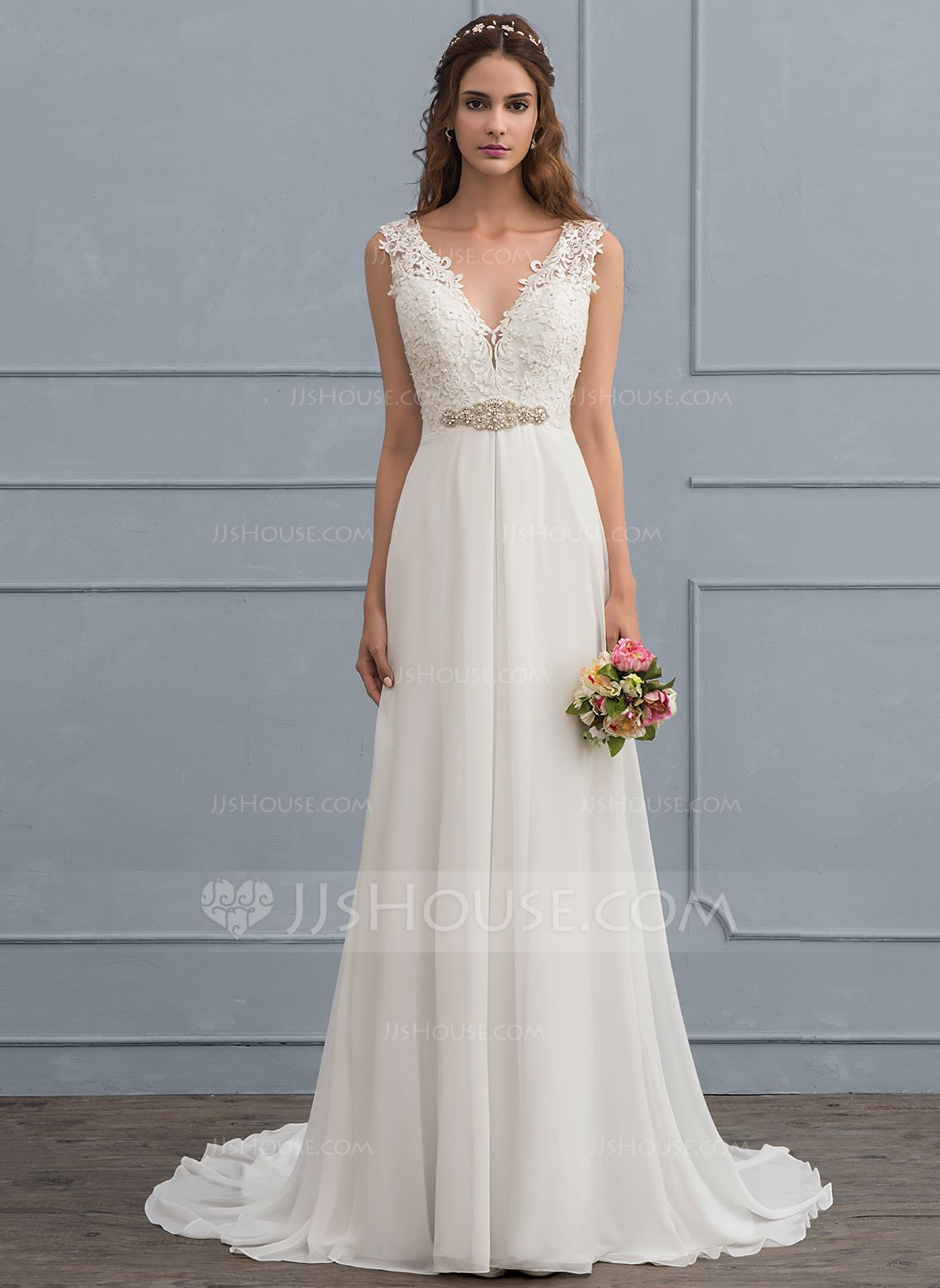Us 192 00 A Line V Neck Court Train Chiffon Wedding Dress With Beading Sequins Jj S House Perfect Wedding Dress Simple Wedding Gowns Wedding Dresses Simple [ 1562 x 1140 Pixel ]