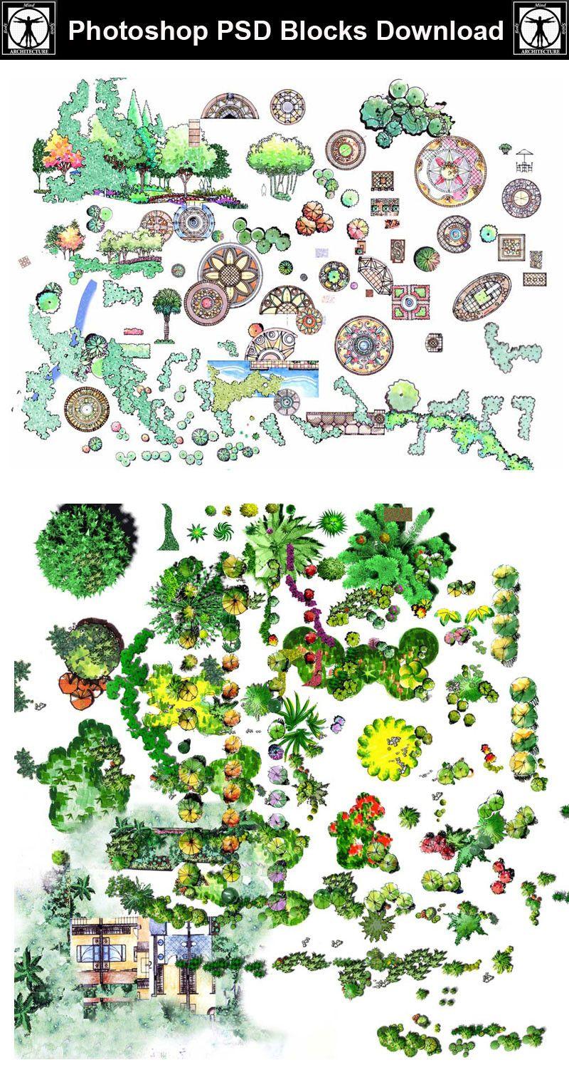 Hand-painted PSD Landscape Blocks 3 – CAD Design