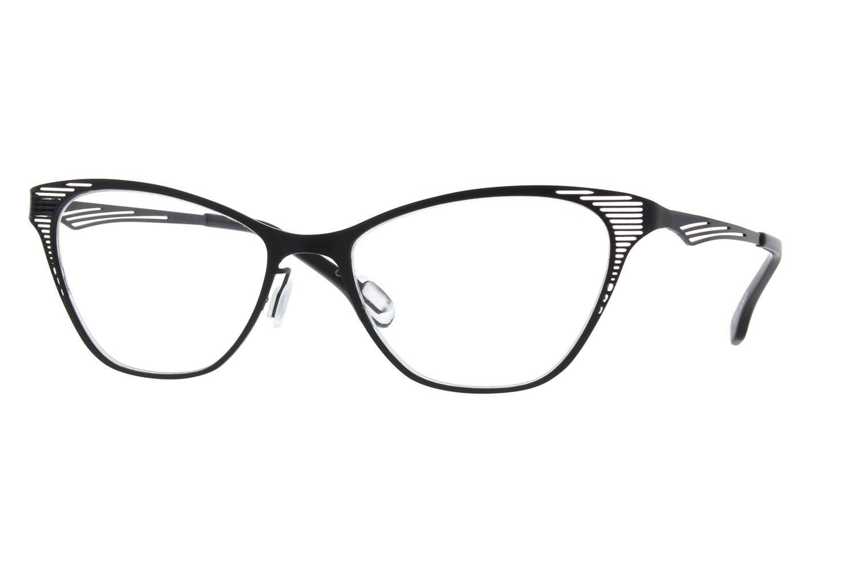 Zenni Womens Cat-Eye Prescription Eyeglasses Black Stainless Steel ...