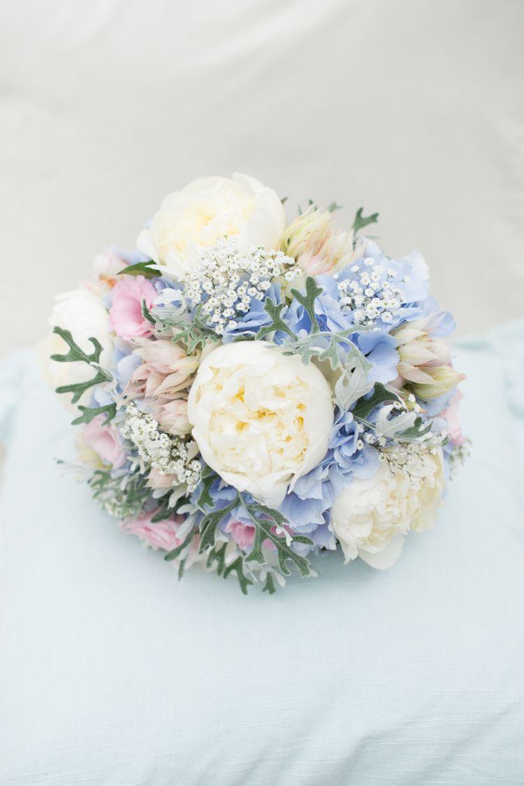 Pink Blue Peony Bouquet Hydrangea Bride Bridal Flowers Pretty Pastel Relaxed Rustic Wedding http://www.kayleighpope.co.uk/