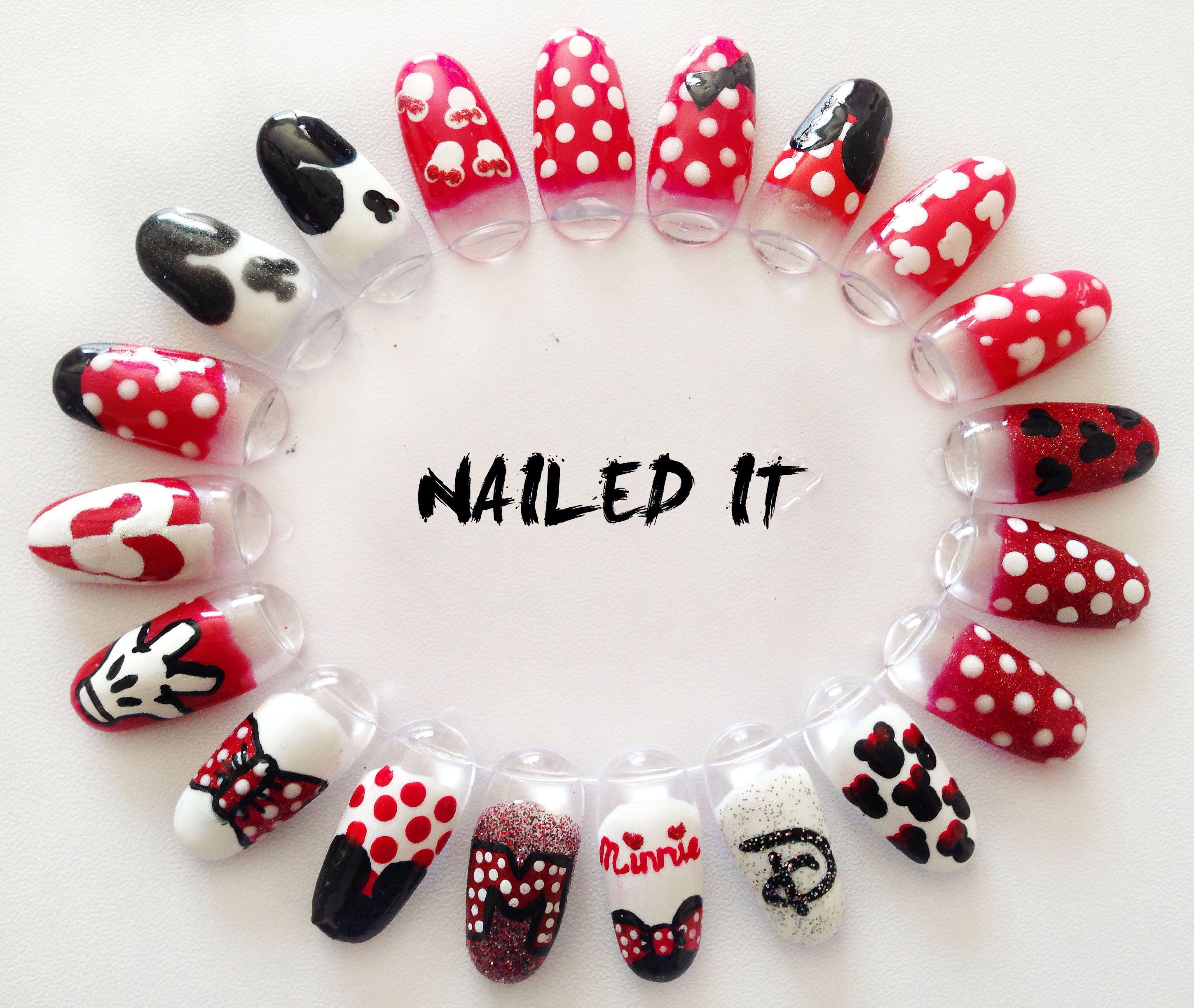 Hand painted Disney Minnie and Mickey nail art wheel. By Nailed It ...