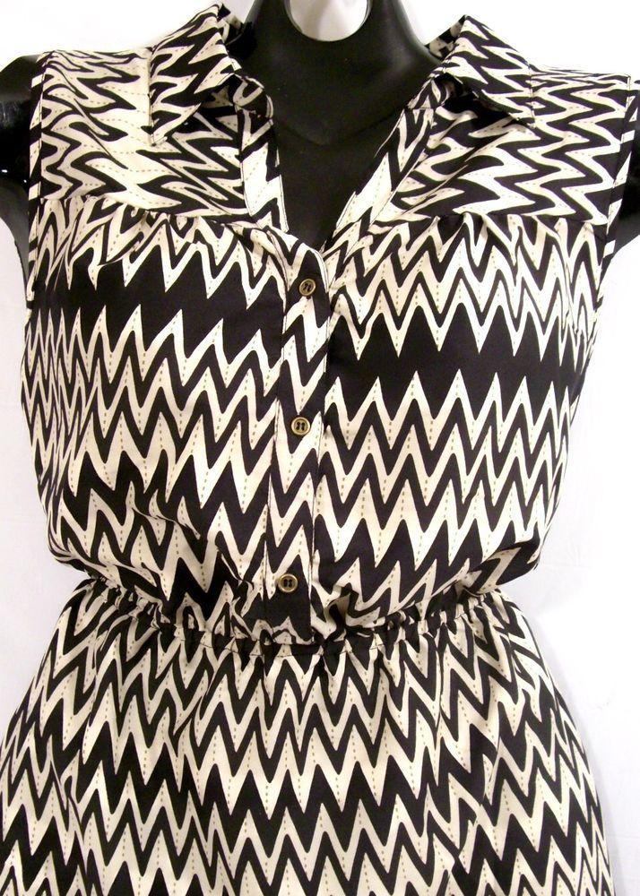 NWT~XL~Black Chevron Stripe Print Shirt DRESS~Work~Party~Rockabilly~Hi Low~Retro