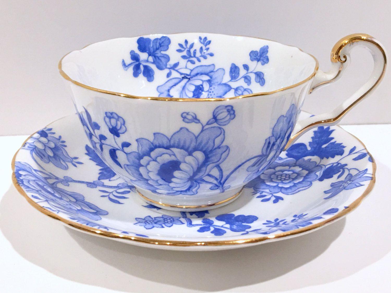 Vintage Tea Cups Part - 45: Victoria Cup And Saucer, Antique Teacup, Blue White Vintage Tea Cup, Vintage  Tea