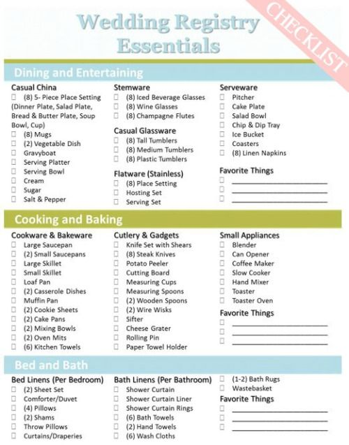 HereS A Perfect Basic Wedding Registry Checklist From Sweet Tea