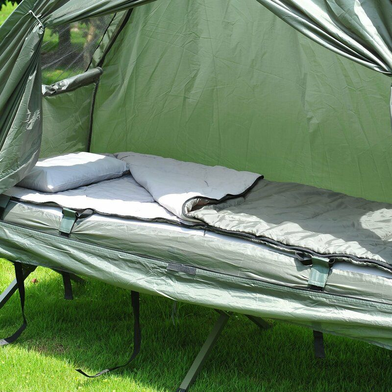 Outsunny Single Person Camping Cot Tent With Sleeping Bag Air Mattress And Storage Bag Cots Hammocks Aosom Camping Pillows Shelter Tent Tent Cot