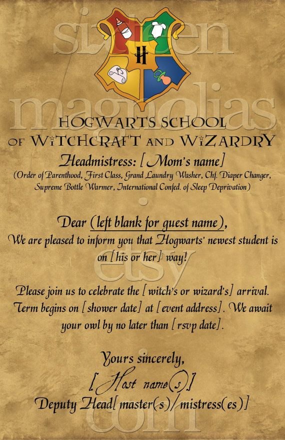 Harry Potter Baby Shower Invitation.@Kasandra Riehle Riehle Starkey ...