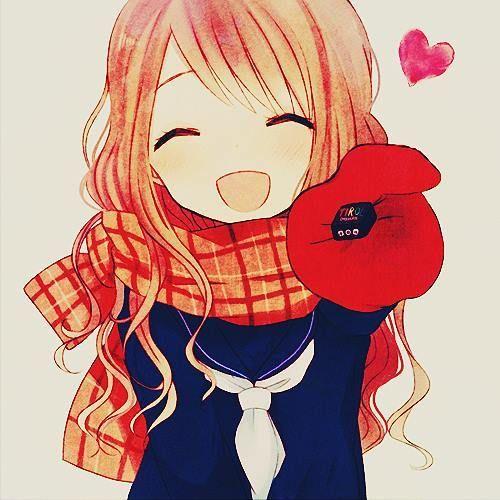 Cute anime girl with a cute heart!
