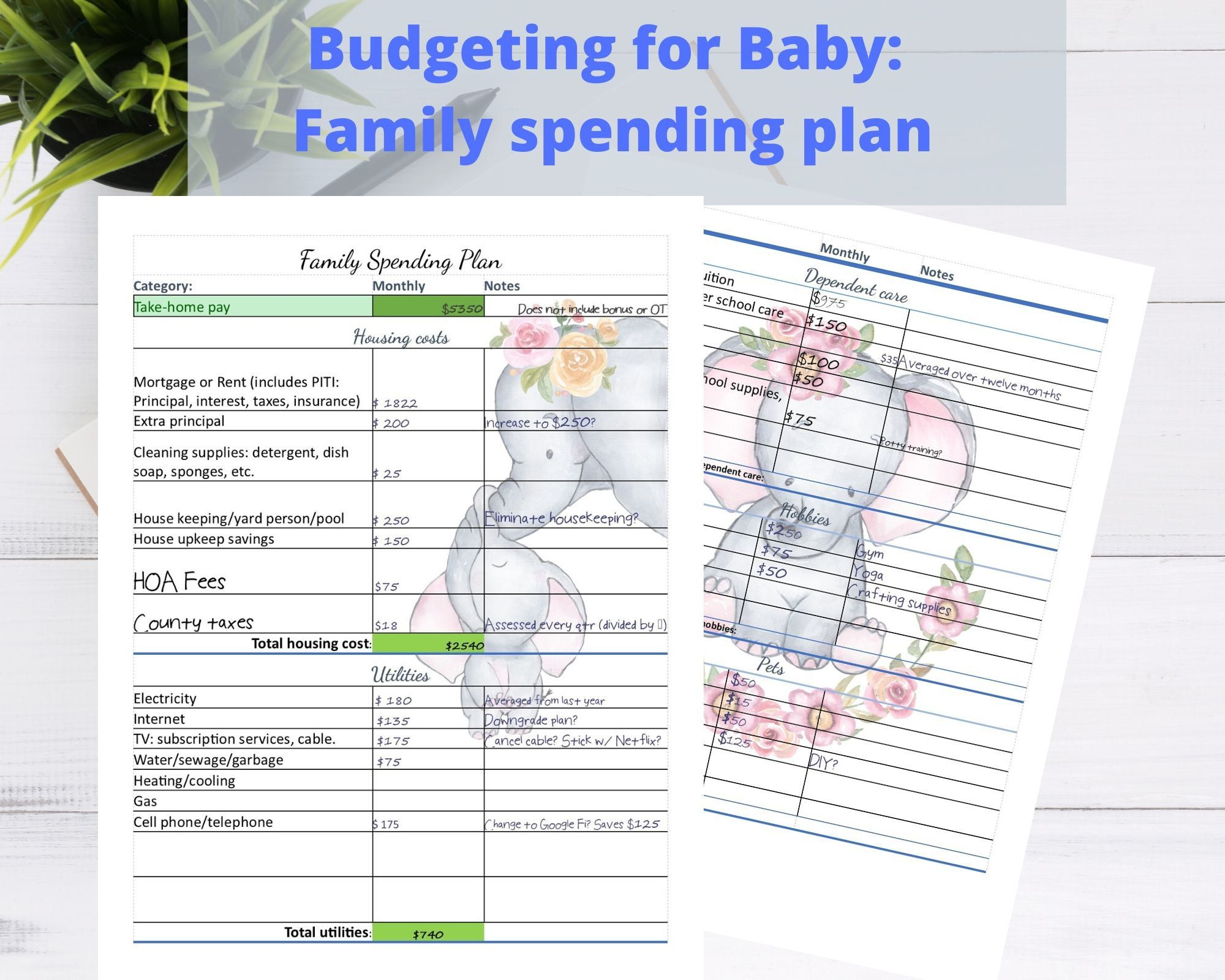8 5 X11 Printable Budgeting For Baby Family Spending