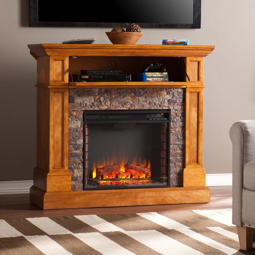 Stone Electric Fireplace Tv Stand Southern Enterprises Bridgewater 45 5 In Stone Look Convertible