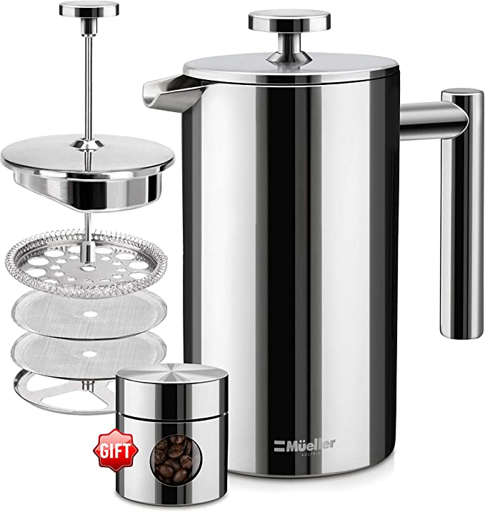 Amazon Com Mueller French Press 20 Heavier Duty Double Insulated 310 Stainless Steel In 2020 Stainless Steel Coffee Maker Stainless Steel Coffee French Press Coffee
