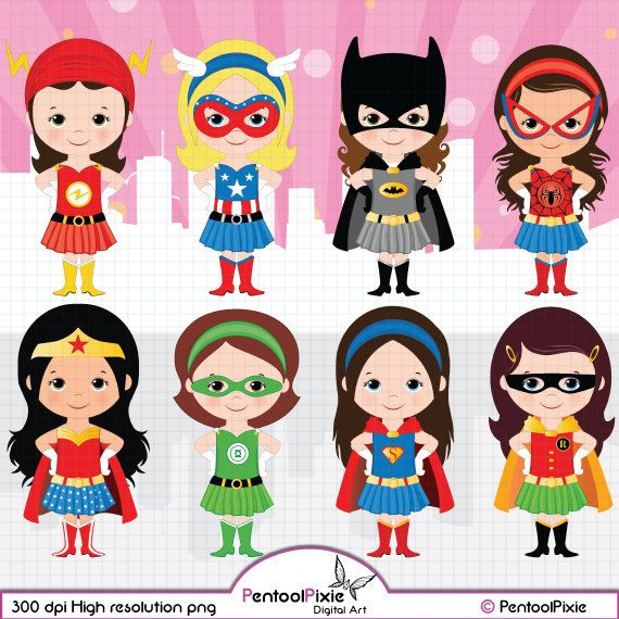 Superhero Girls Clipart Girl Power Clipart Supergirls Etsy Girl Superhero Superhero Clipart Fourth Of July Crafts For Kids