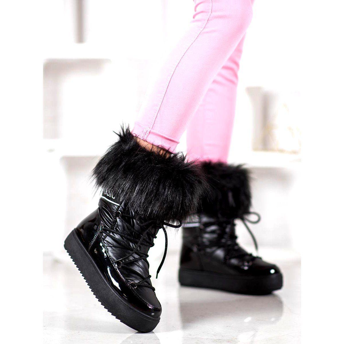 Bella Paris Warm Snow Boots With Fur Black Fur Boots Snow Boots Women Boots