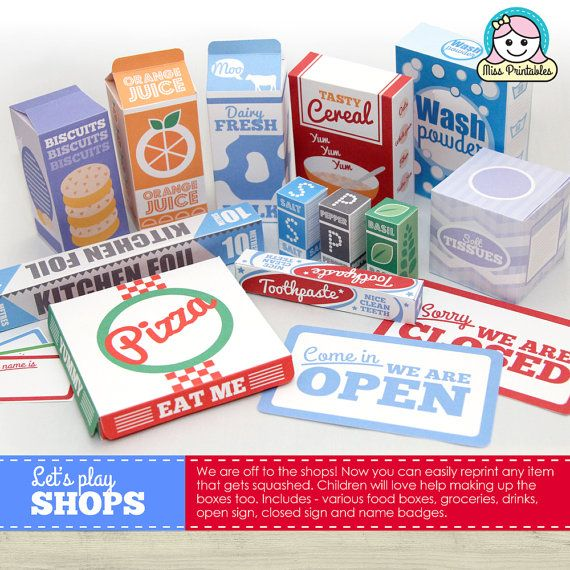 FOOD packaging printable, for children's pretend play ...
