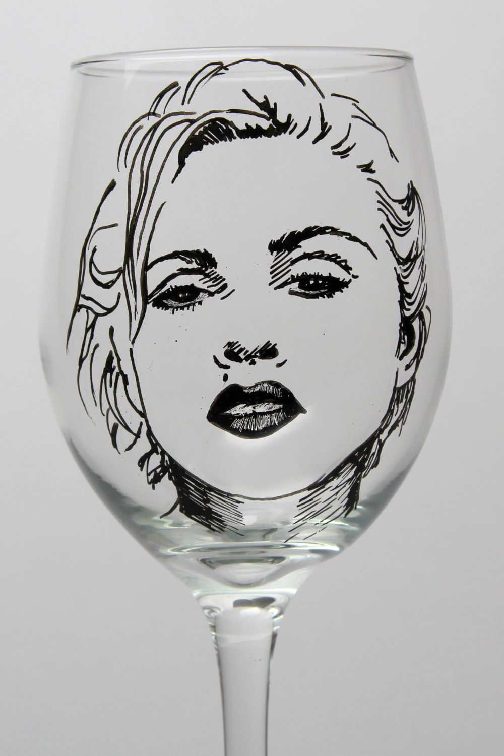 Madonna painted wine glass hand painted goblet 2000