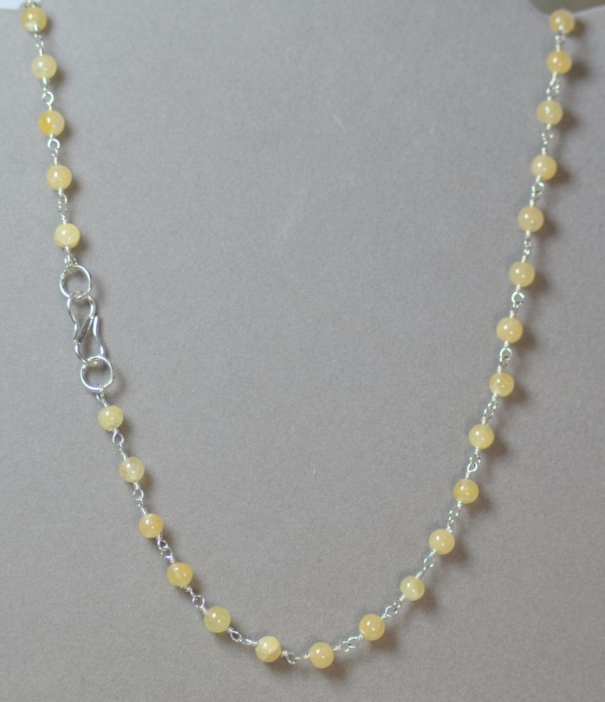 "LINDA'S CREAM COLOR QUARTZ & SILVER FINISHD BRASS 17"" BEADED CHOKER NECKLACE #LindasCabsJewelryGemstones #Choker"