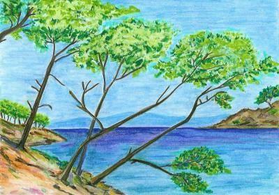 Paysage bord de mer aux crayons de couleur cr ation - Dessin bord de mer ...