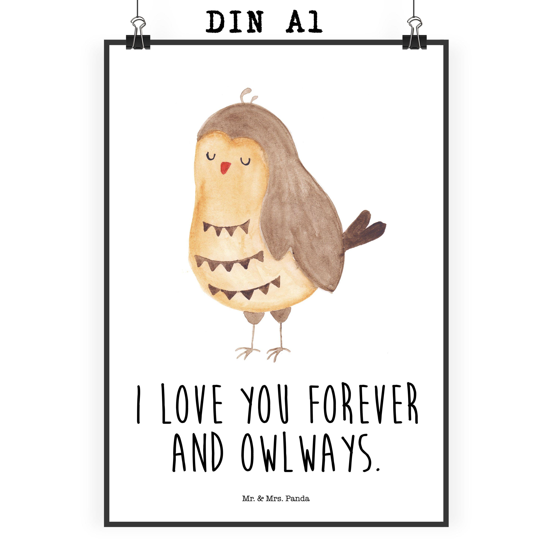 """Poster DIN A1 Eule Zufrieden aus Papier 160 Gramm  weiß - Das Original von Mr. & Mrs. Panda.  Jedes wunderschöne Poster aus dem Hause Mr. & Mrs. Panda ist mit Liebe handgezeichnet und entworfen. Wir liefern es sicher und schnell im Format DIN A2 zu dir nach Hause. Das Format ist 549 x 841 mm    Über unser Motiv Eule Zufrieden  Ganz nach dem Motto """"I Love you forever and owlays"""". Die wunderbare zufriedene Eule von Mr. & Mrs. Panda.    Verwendete Materialien  Es handelt sich um sehr…"""
