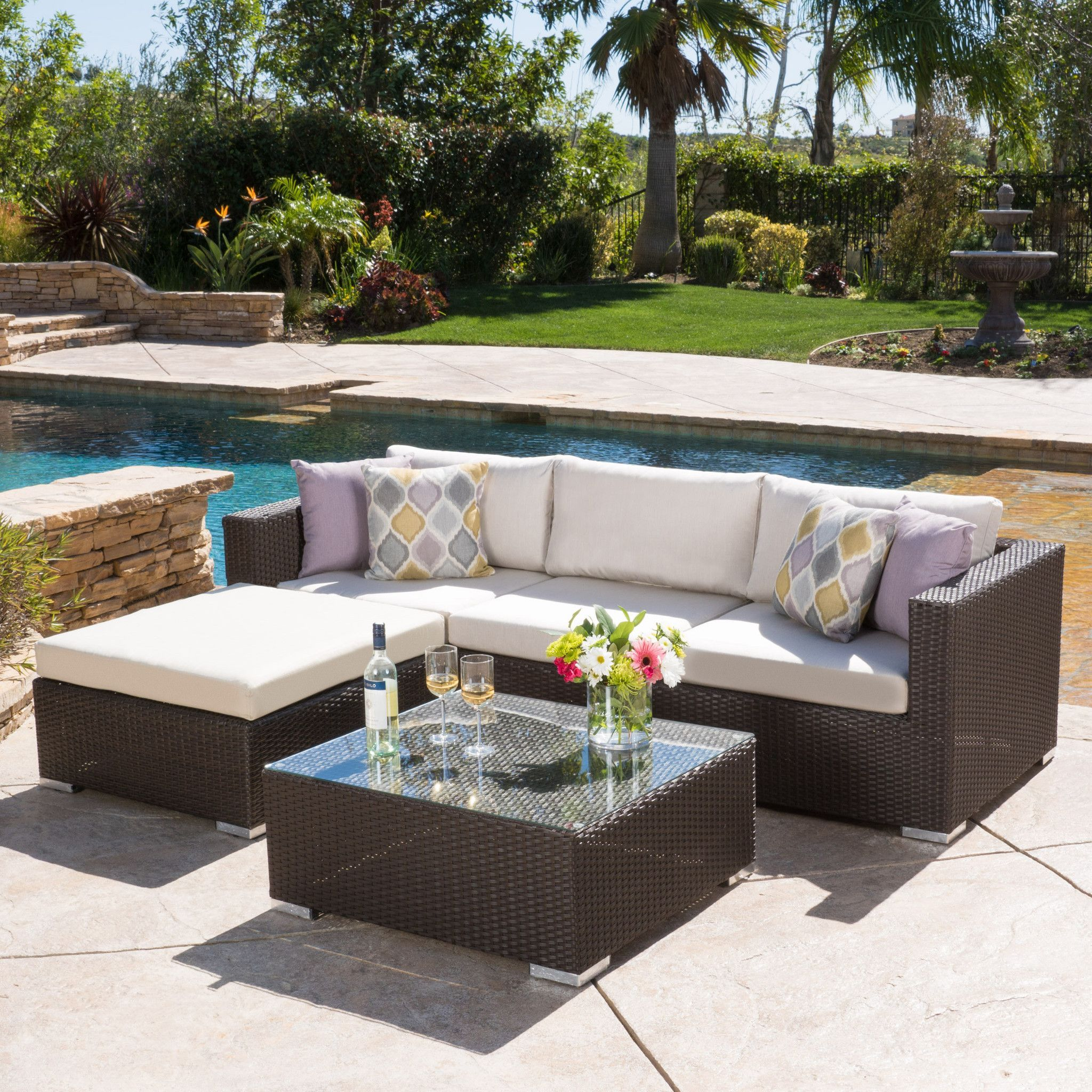 Francisco 5pc Outdoor Brown Wicker Aluminum Seating Sectional Set