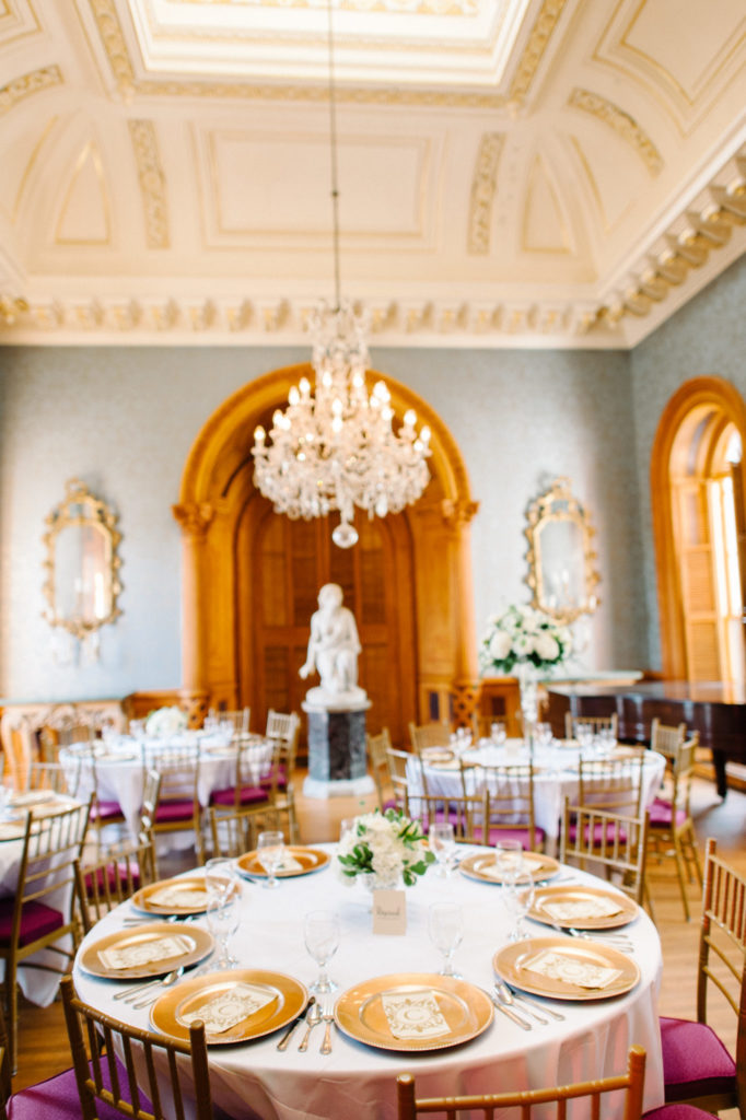 White centerpieces were simply elegant at this reception ...