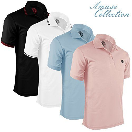 Albert Morris Polo Shirts For Men, Striped and Non-Striped Combo (4 Pack