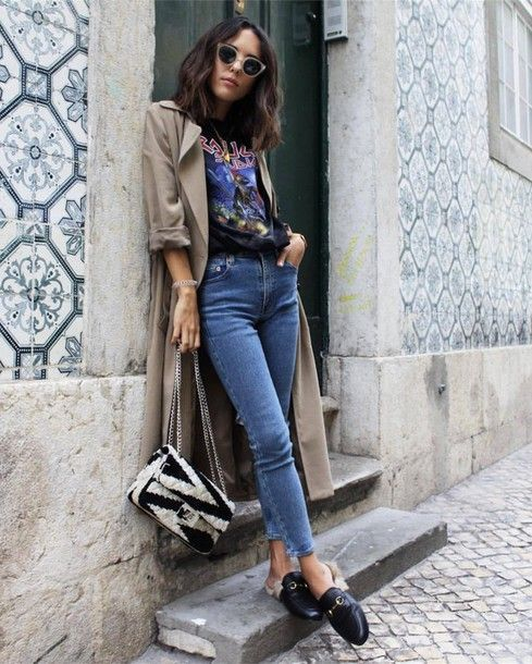 Coat  tumblr grey duster denim jeans blue jeans skinny jeans loafers black  shoes shoes gucci gucci e14758ad0b342
