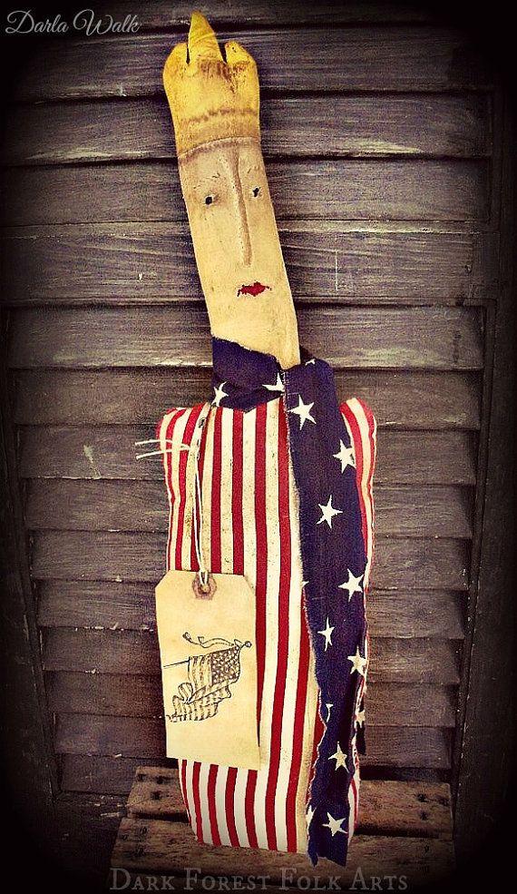 Primitive Folk Art Americana Lady Liberty 21 by DarkForestFolkarts