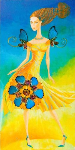 Sunshine Butterfly 2011 by Alina Eydel, Original Painting, Acrylic on Canvas with Butterfly Wings