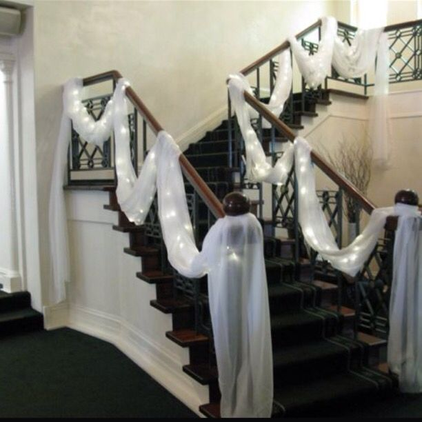 Wedding At Home Ideas: White Draping And Lights To Decorate Stairs #wedding In