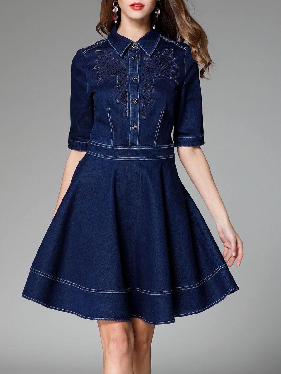 #AdoreWe #StyleWe Midi Dresses - Designer Danting Lisi Navy Blue Cotton-blend Elegant Shirt Collar Midi Dress - AdoreWe.com
