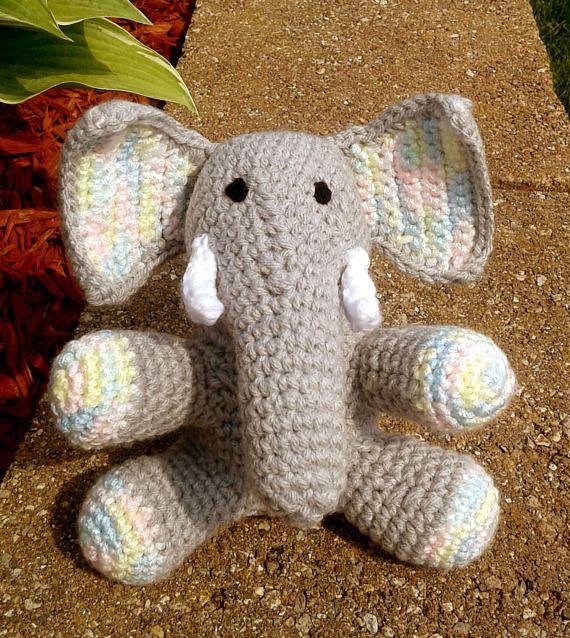 Crochet elephant | Etsy | 638x570