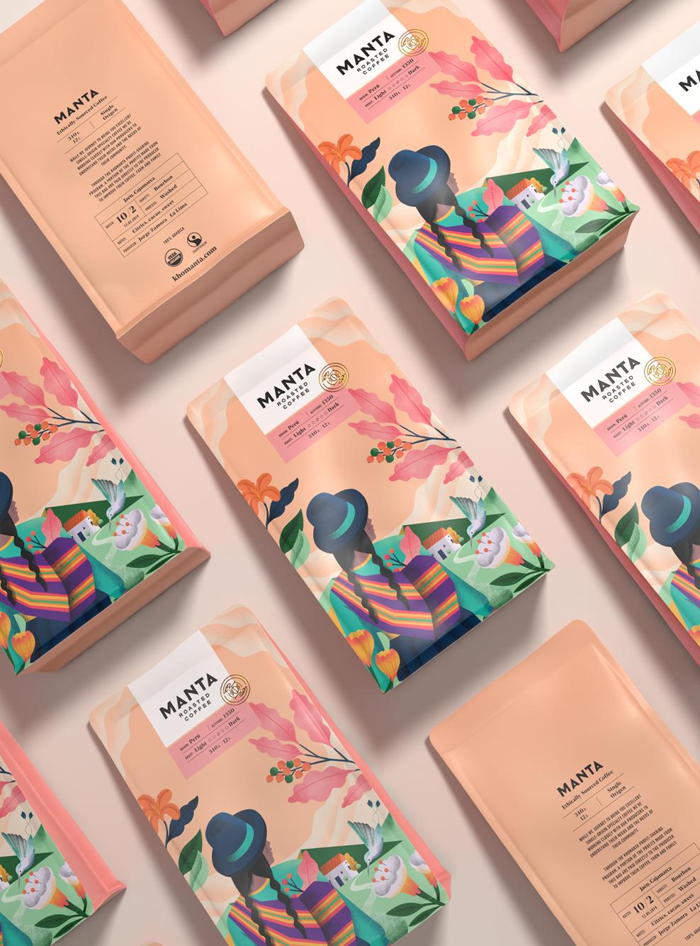 Manta Coffee Tea packaging design, Creative packaging