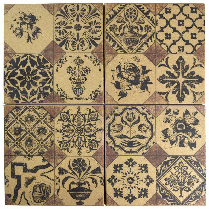 Shale Retro 9 63 Quot X 9 63 Quot Ceramic Field Tile Ceramic