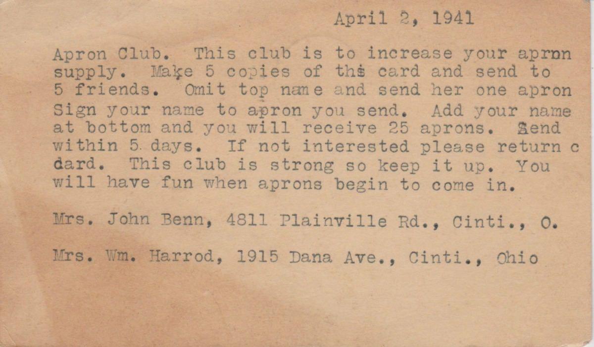 1941 Apron Club Postcard Chain Letter Vintage Chain Letter